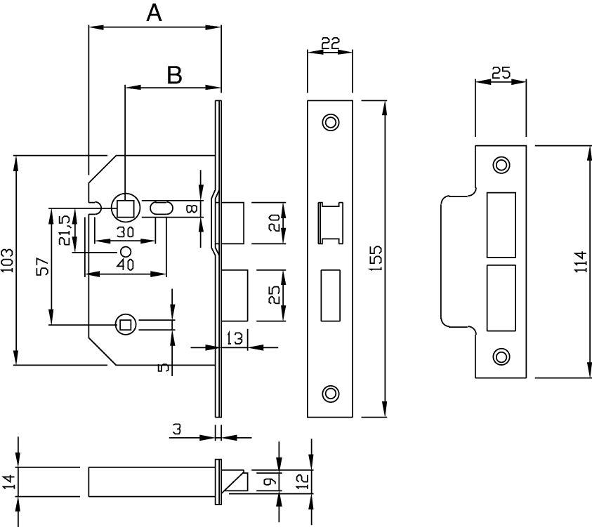 GRIDLOCK Radius Bathroom Lock G7 - Staff Ironmongery